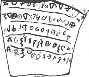 A drawing of the proto-Canaanite text