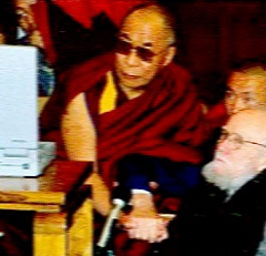 An alleged photograph of the fourteenth Dalai Lama receiving Professor Robin-Evans in 1947