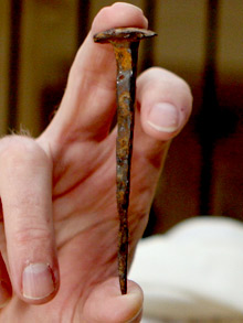 A nail said to be from the Crucifixion of Jesus