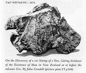 A supposedly 150,000 year old carved tree stump from New Zealand