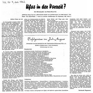 Reinhardt Wegemann's article in the July 1962 Das Vegetarische Universum