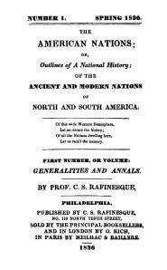 Title page of Rafinesque's The American Nations