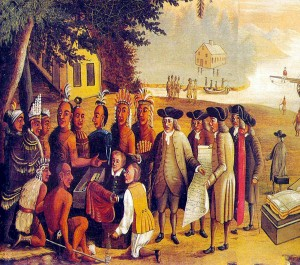 "Edward Hicks's ""William Penn's Treaty with  Lenape Chiefs at Shackamaxon, 1682"""
