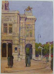 Water colour view of Vienna Opera House by Adolf Hitler, painted during his desitute years in Vienna