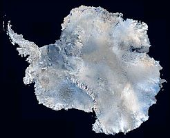 A satellite view of Antarctica with sea ice removed