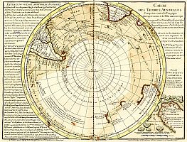 Buache's original version of the map (1739) is much more vague about the size and shape of the Antarctic continent