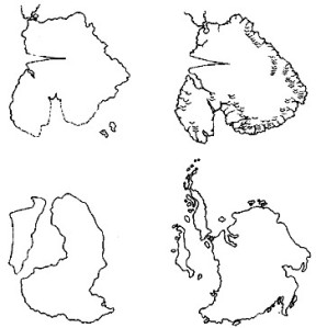 Hancock's comparison of Mercator's, Orontius Finaeus's and Philippe Buache's maps of Terra Australis with the results of the 1957-8 seismic data: hardly impressive!