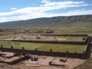 A view of Tiwanaku from the top of the Akapana