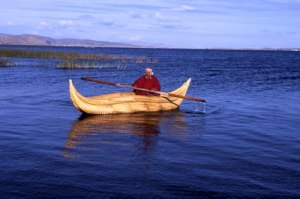 A boat made from Totora reeds