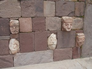 Heads embedded int he wall of the Templete
