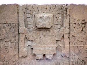 A representation believed to be Wiraqocha from Tiwanaku (Source)