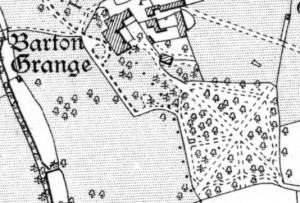 1880s Ordnance Survey map of Barton Grange and the woodland walks to its south-east